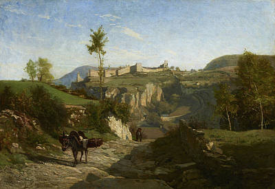 Donkey Painting - Landscape Near Cremieu by Charles-Francois Daubigny