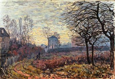 Windswept Painting - Landscape Near Louveciennes by Alfred Sisley