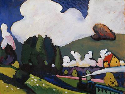 Expressive Painting - Landscape Near Murnau With Locomotive by Wassily Kandinsky