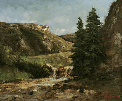 Comte Painting - Landscape Near Ornans by Gustave Courbet