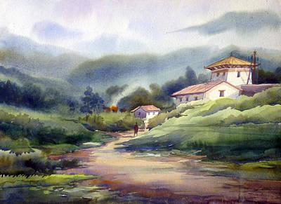 Landscape Of Bhutan Art Print
