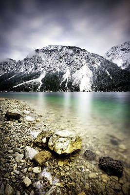Landscape Of Plansee Lake And Alps Mountains During Winter, Snowy View, Tyrol, Austria. Art Print