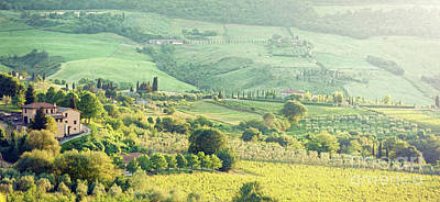 Tuscan Hills Painting - Landscape Of Tuscany Hills With Lens Flare by Antonio Gravante