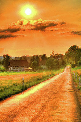 Landscape Oil Painting - Landscape Oil Paintings For Sale - Farm In The Sun by Frances Leigh