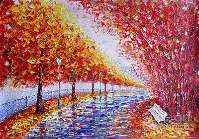 Landscape Painting Gold Alley Art Print by Valery Rybakow