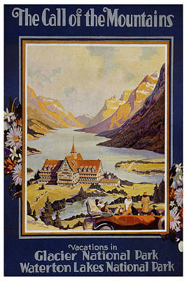 National Park Painting - Landscape Painting Of A Mansion By A Lake Shore In Glacier National Park- Vintage Travel Poster by Studio Grafiikka
