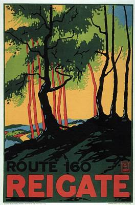 Landscapes Royalty-Free and Rights-Managed Images - Landscape Painting of the Woods in Reigate, Surrey - England - Vintage Poster by Studio Grafiikka