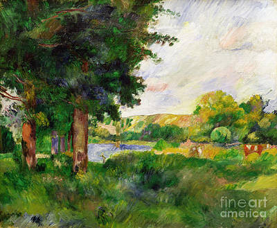 Farm Fields Painting - Landscape by Paul Cezanne