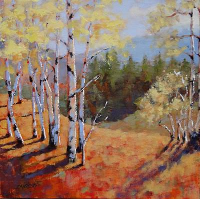 Pine Tree Painting - Landscape Series 1 by Laura Lee Zanghetti