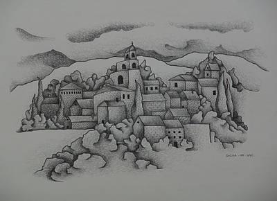 Landscape The Town  2009 Art Print by S A C H A -  Circulism Technique