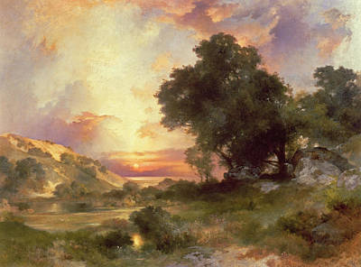 Cloudy Painting - Landscape by Thomas Moran