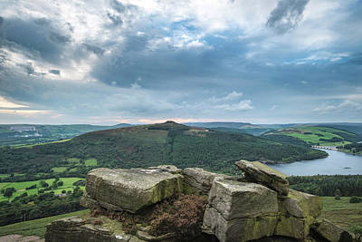 Landscape View From Bamford Edge In Peak District Towards Ladybo Art Print by Matthew Gibson