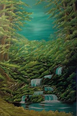 Bob Ross Painting - Landscape Waterfalls by Richard Leivers