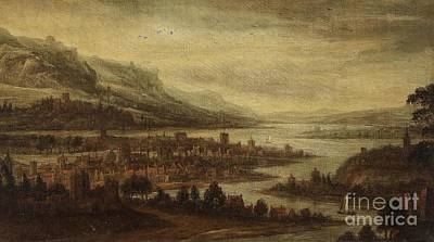 River Painting - Landscape With A City By A River by Celestial Images