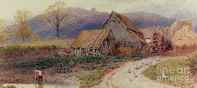 Landscape With Figure Painting - Landscape With A Farm by Myles Birket Foster