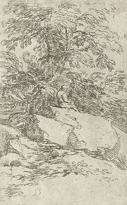 Relief - Landscape With A Figure Seated On A Rock by Salvator Rosa