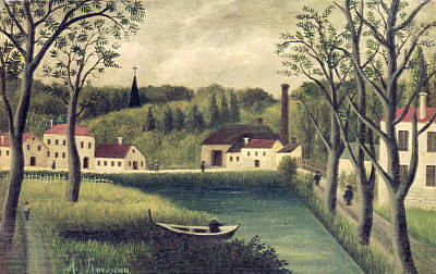 J Boat Painting - Landscape With A Fisherman by Henri Rousseau
