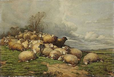 Flock Of Sheep Painting - Landscape With A Flock Of Sheep by MotionAge Designs
