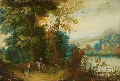 Flemish School Painting - Landscape With A Horseman by MotionAge Designs