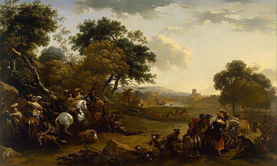 Hunting Party Painting - Landscape With A Hunting Party by Mountain Dreams