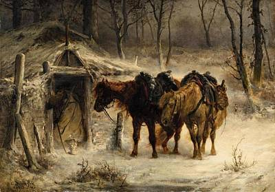 Adolf Painting -  Landscape With A Huntsman And Horses by Adolf Schreyer