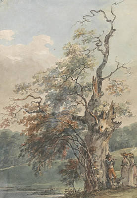 Painting - Landscape With A Man Playing A Pipe Under An Old Tree by Paul Sandby