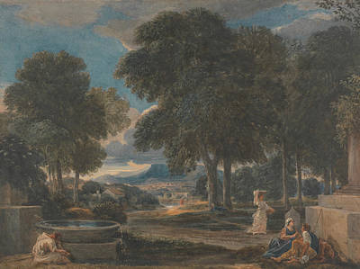 Painting - Landscape With A Man Washing His Feet At A Fountain, After Poussin by David Cox