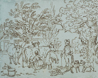 Paul Drawing - Landscape With A Milk Maid And A Beau by Paul Sandby