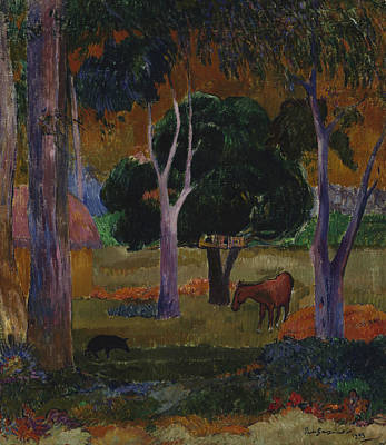 Painting - Landscape With A Pig And A Horse  by Paul Gauguin