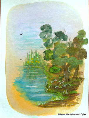 Landscape With A Pond Art Print by Anna Folkartanna Maciejewska-Dyba