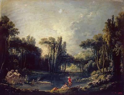 Landscape With A Pond Art Print by Francois Boucher