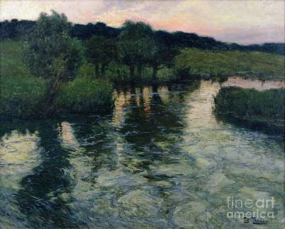 Reflecting Sunset Painting - Landscape With A River by Fritz Thaulow