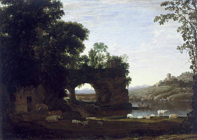 Riverscape Painting - Landscape With A Rock Arch And River by Claude Lorrain