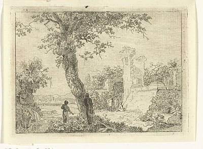 Moody Trees - Landscape with a ruin, Gerardus Emaus de Micault, 1813 - 1863 by Gerardus Emaus de Micault