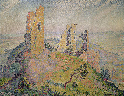 Pointillist Painting - Landscape With A Ruined Castle  by Paul Signac