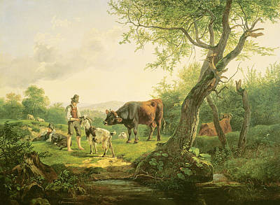 Petting Painting - Landscape With A Shepherd by Friedrich Gauermann