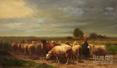 Flock Of Sheep Painting - Landscape With A Shepherdess And A Flock Of Sheep by MotionAge Designs