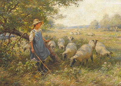 Arcas Painting - Landscape With A Shepherdess by William