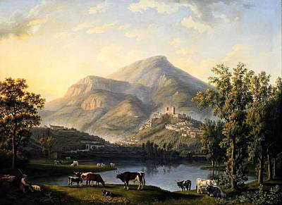 Landscape With A View Of Itri Art Print