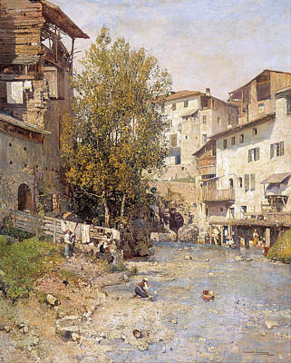 Landscape With A Village On The Outskirts Of Rome Print by Mariano Barbasan