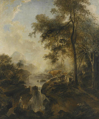 Waterfalls And Trees Landscape Painting - Landscape With A Waterfall And Cattle by Elias Martin