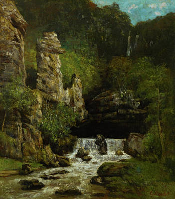 Painting - Landscape With A Waterfall by Gustave Courbet