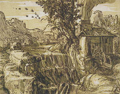 Relief - Landscape With A Waterfall by Hendrik Goltzius