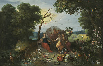 Painting - Landscape With Allegories Of The Four Elements by Frans Francken the Younger