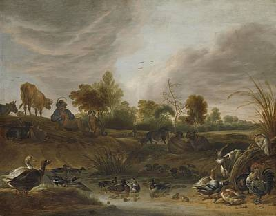 Circle Painting - Landscape With Animals Cornelis Saftleven, 1652 by Celestial Images