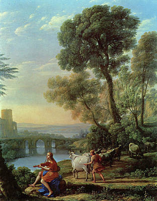 Violinist Painting - Landscape With Apollo And Mercury by Claude Lorrain