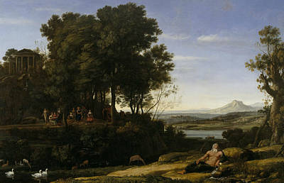 Greek Gods Painting - Landscape With Apollo And The Muses by Claude Lorrain