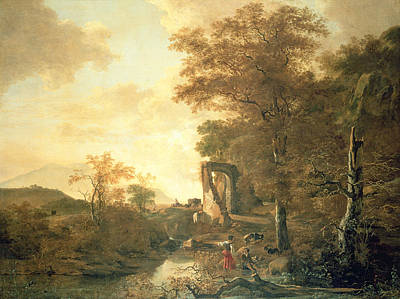 Landscape With River Painting - Landscape With Arched Gateway by Adam Pynacker