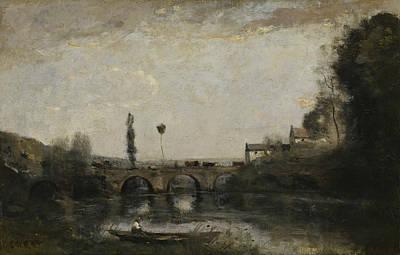Landscape With Bridge Art Print by Jean-Baptiste-Camille Corot