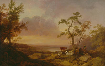 Painting - Landscape With Cattle And Peasant by Philip James de Loutherbourg